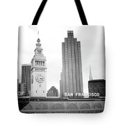 Port Of San Francisco Black And White- Art By Linda Woods Tote Bag