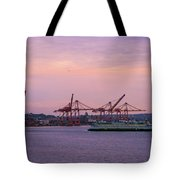 Port Of Seattle During Colorful Sunset Tote Bag