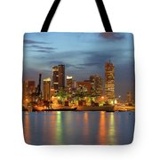 Port Of Singapore With City Skyline Tote Bag