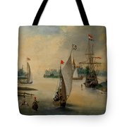 Port Scene With Sailing Ships Tote Bag