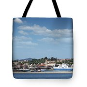 port with ferry boats Corfu Greece Tote Bag