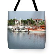 Port With Sailboat And Fishing Boat Tote Bag