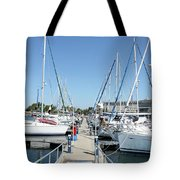 Port With Yacht  Tote Bag