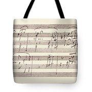 Portion Of The Manuscript Of Beethoven's Sonata In A, Opus 101 Tote Bag
