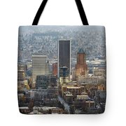 Portland City Downtown Cityscape Panorama Tote Bag