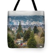 Portland City Skyline From Mount Tabor Tote Bag