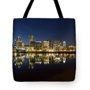 Portland City Skyline Reflection On Willamette River Tote Bag