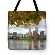 Portland City Skyline Under Fall Foliage Tote Bag