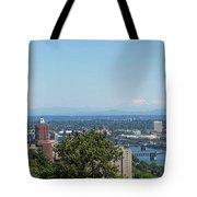 Portland Cityscape And Bridges On A Clear Blue Day Tote Bag