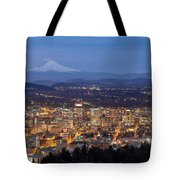 Portland Cityscape During Blue Hour Tote Bag