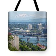 Portland Cityscape With Mount Saint Helens View Tote Bag