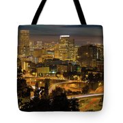 Portland Downtown Cityscape And Freeway At Night Tote Bag