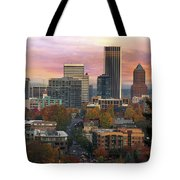 Portland Downtown Cityscape During Sunrise In Fall Tote Bag