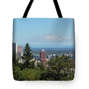 Portland Downtown Cityscape With Mount Saint Helens View Tote Bag
