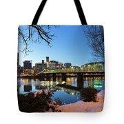 Portland Downtown Winter Night Scene Tote Bag