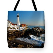 Portland Head Light - Lighthouse Seascape Landscape Rocky Coast Maine Tote Bag by Jon Holiday