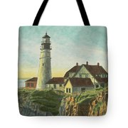Portland Head Light At Sunrise Tote Bag