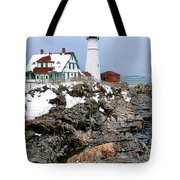Portland Head Light In Winter Tote Bag