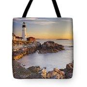 Portland Head Lighthouse In Maine Usa At Sunrise Tote Bag