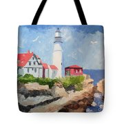 Portland Headlight By The Sea Tote Bag