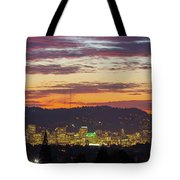 Portland Oregon City Skyline Sunset Panorama Tote Bag