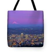 Portland Oregon Cityscape At Dusk Tote Bag