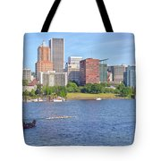 Portland Oregon Skyline And Rowing Boats. Tote Bag
