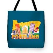 Portland Oregon Skyline In State Map Tote Bag