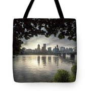Portland Skyline Under The Trees At Sunset Tote Bag