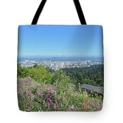 Portland Skyline With Mount Hood Tote Bag