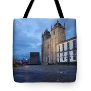 Porto Cathedral And Pillory Column In Portugal Tote Bag