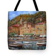 Portofino-la Piazzetta E Le Barche Tote Bag
