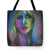 Portrait In Black And Blue Tote Bag