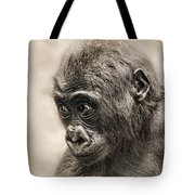 Portrait Of A Baby Gorilla Digitally Altered Tote Bag