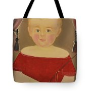 Portrait Of A Blonde Boy With Red Dress With Whip Tote Bag