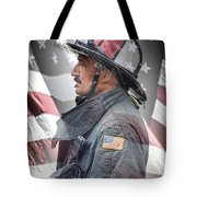 Portrait Of A Fire Fighter Tote Bag