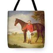 Portrait Of A Gentleman With His Horse Tote Bag