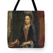 Portrait Of A Lady Half Length In A Mantua Gown And Lace Frelange Headdress Tote Bag