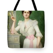 Portrait Of A Lady Holding A Fan Tote Bag by Jules-Charles Aviat