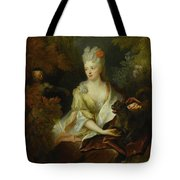Portrait Of A Lady Seated In A Landscape With Her Pet Dog And A Monkey Tote Bag