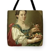 Portrait Of A Lady With A Flower Basket Tote Bag