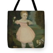 Portrait Of A Little Girl Picking Grapes Tote Bag