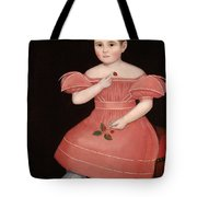 Portrait Of A Rosy Cheeked Young Girl In A Pink Dress Tote Bag