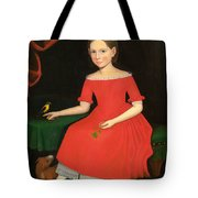Portrait Of A Winsome Young Girl In Red With Green Slippers Dog And Bird Tote Bag