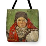 Portrait Of A Woman In A Red Scarf Tote Bag