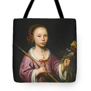Portrait Of A Young Girl As A Shepherdess Holding A Sprig Of Flowers Tote Bag