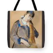 Portrait Of A Young Woman Combing Her Hair Tote Bag