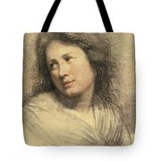 Portrait Of A Young Woman Looking Over Her Shoulder Tote Bag