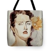 Portrait Of A Young Woman With Flower Tote Bag
