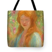 Portrait Of A Young Women In Garden 1912 Tote Bag